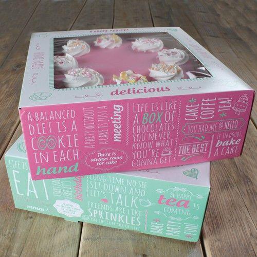 Set 2 scatole quadrate per dolci modello citazioni 32 x 32