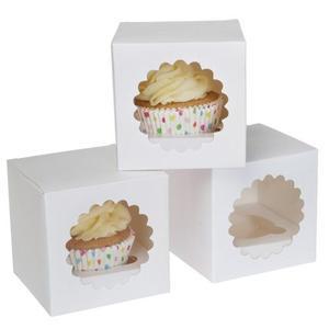 Set 3 scatola porta cupcakes cartone bianco