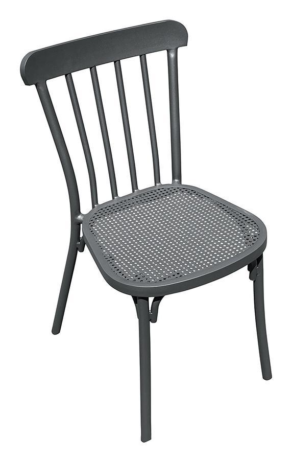 Sedia da giardino TRATTORIA in alluminio grigio impilabile CHA 34