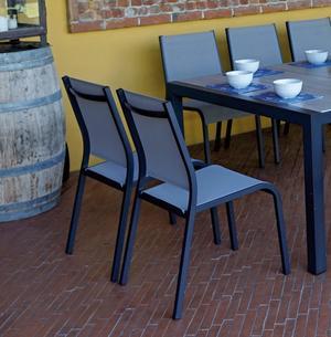 Sedia da giardino SEDIA SIENA in textilene alluminio grigio CHA 36