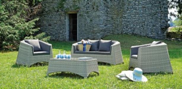 Salotto da giardino SET SARAGOZZA in wicker e alluminio grigio SET 110