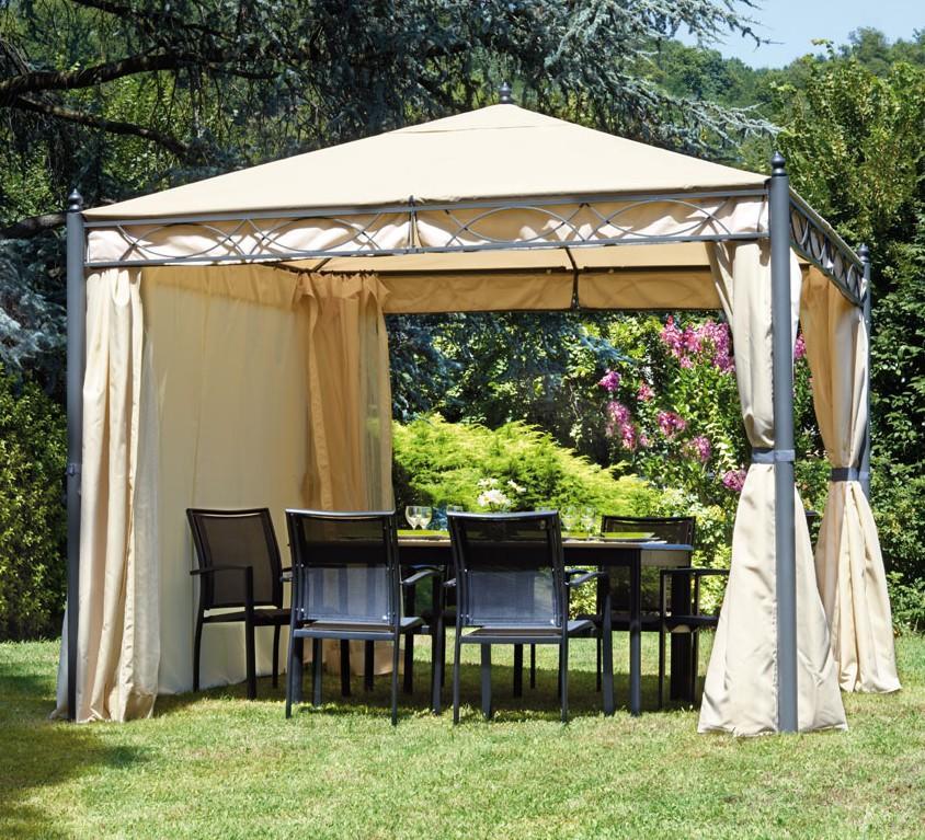 Gazebo da giardino carnival 33 in metallo telo beige con zanzariere e teli laterali - Pergola giardino ...