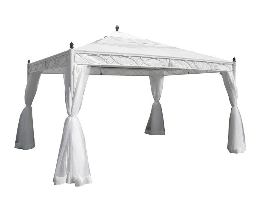 Gazebo da giardino CARNIVAL 33 in metallo telo bianco con zanzariere e teli laterali TUTTO BIANCO