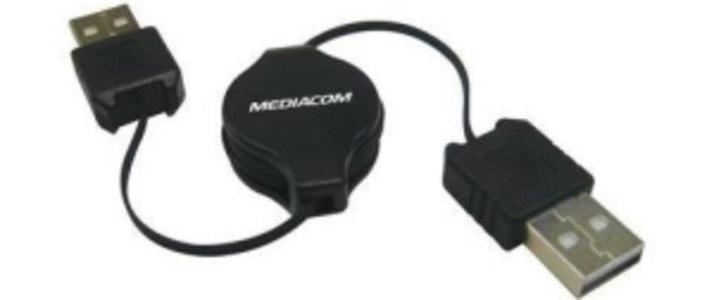 CAVO PROLUNGA RETRATTILE USB 2.0 MASCHIO / MASCHIO 0,8 MT