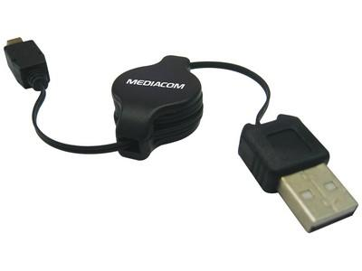 CAVO PROLUNGA RETRATTILE USB 2.0 MASCHIO TIPO A / MINI USB 5 0,8 MT