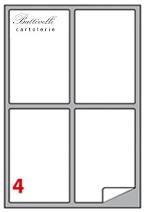 CONFEZIONE ETICHETTE IN A4 F.TO 99,1 x 139 CONF. 100 FF - 4 PER FOGLIO - A465