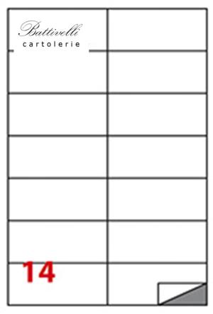 CONFEZIONE ETICHETTE IN A4 F.TO 105 x 42 CONF. 100 FF - 14 PER FOGLIO - C508