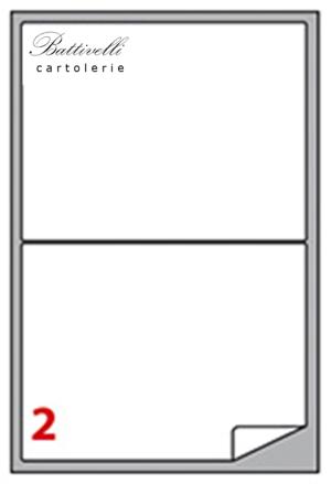 CONFEZIONE ETICHETTE IN A4 F.TO 199,6 x 143,5 CONF. 100 FF - 2 PER FOGLIO - A470