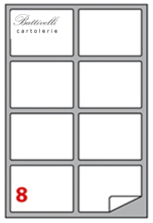 CONFEZIONE ETICHETTE IN A4 F.TO 99,1 x 67,7 CONF. 100 FF - 8 PER FOGLIO - A450