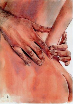 """Stampa """"Le tue mani, i polsi""""."""