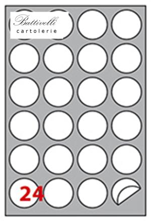 CONFEZIONE ETICHETTE IN A4 DIAM. 40 MM CONF. 100 FF - 24 PER FOGLIO - R305