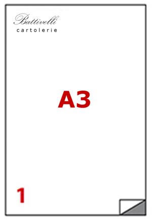 CONFEZIONE ETICHETTE IN A3 F.TO 420 x 297  100 FF - 1 PER FOGLIO - C599