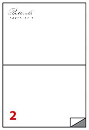 CONFEZIONE ETICHETTE IN A4 F.TO 210 x 148,5  100 FF - 2 PER FOGLIO - C509