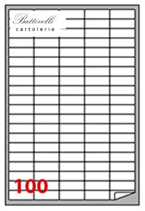 CONFEZIONE ETICHETTE IN A4 F.TO 37 x 14 ANGOLI ARROTONDATI CONF. 100 FF - 100 PER FOGLIO - A401