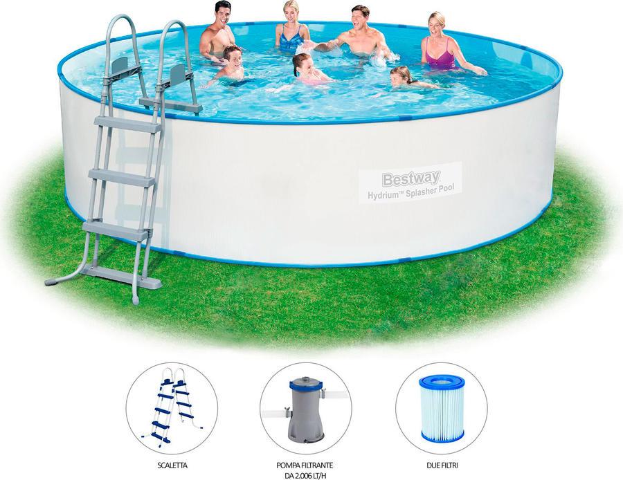 Piscina fuoriterra fuori terra bestway hydrium 56386 rigida rotonda cm 460 x 90h con pompa e - Accessori piscina fuori terra ...