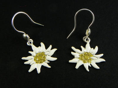 Edelweiss earrings enamelled pendant