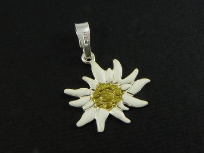 Edelweiss Ciondolo in Argento smaltato