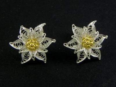 Edelweiss earrings Filigree lobe