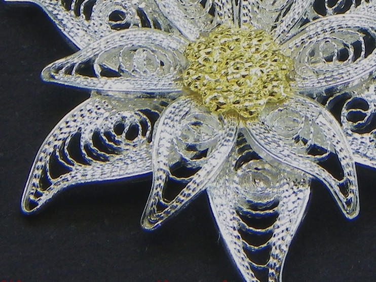 Orecchini Edelweiss in filigrana pendenti