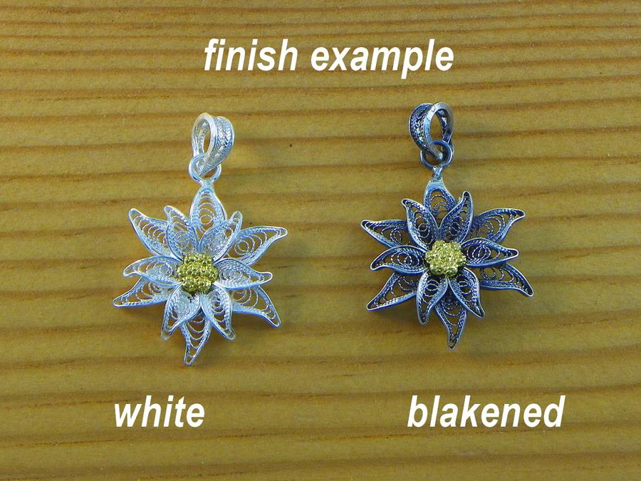 Edelweiss earrings Filigree pendant