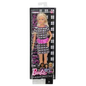 Barbie Fashionistas Bambola Con Vestito Rosa Quadri - Mattel DYY88 - 3+ anni