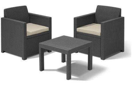 Salotto in resina SET ALLEGRO BALCONY SET 3pz. Grafite 213783 Keter allibert