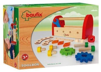 Baufix 11100 Gioco Prima Infanzia Cassetta Degli Attrezzi In Legno Tool Box