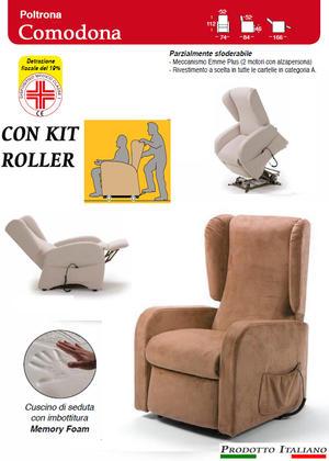 Poltrona Relax Comodona Sfoderabile 2 Motori con Alzapersona  Kit Roller Seduta in Memory Tessuto Idrorepellente Dispositivo Medico Prodotto Italiano