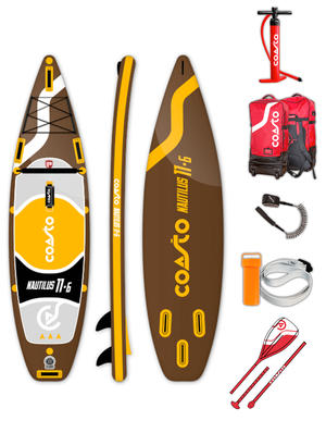 SUP Coasto Nautilus - Stand Up Paddle completo di accessori -  350 x86 x 15 cm