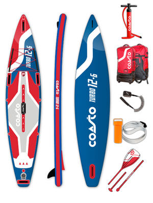 "SUP Coasto Turbo - Stand Up Paddle ""HIGH PERFORMANCE"" completo di accessori -  381 x 78 x 15 cm"