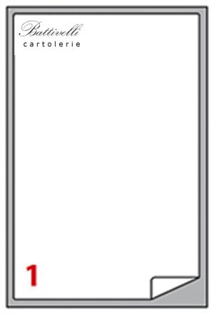 CONFEZIONE ETICHETTE IN A4 F.TO 199,6 x 289,1  100 FF - 1 PER FOGLIO - A475