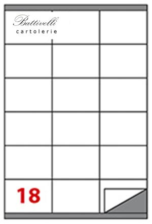 CONFEZIONE ETICHETTE IN A4 F.TO 70 x 48 100 FF - 18 PER FOGLIO - C517