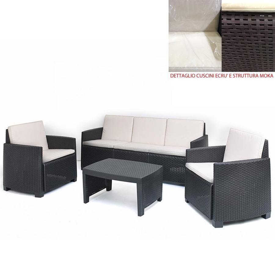 Salotto da giardino in resina con divano 3 posti SET STROMBOLI con cuscini e poltrone colore antracite