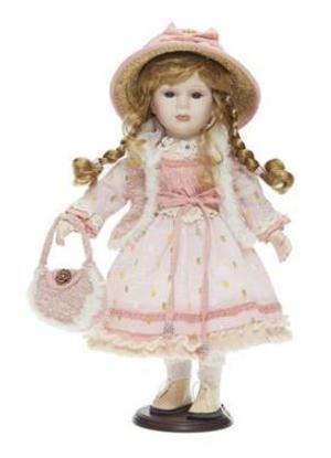 Bambola da Collezione in Porcellana con Borsetta e Cappello in Paglia Vestito Rosa RF Collection Qualità Made in Germany