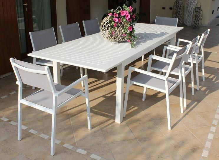 Tavolo da giardino in alluminio bianco cubano allungabile for Sedie tavolo esterno