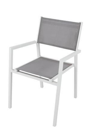 Sedia impilabile da giardino AVANAS BRACCIOLI in textilene grigio e alluminio bianco