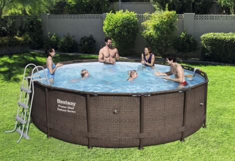 Piscina fuori terra rotonda besyway 56664 effetto rattan - Manutenzione piscina fuori terra bestway ...