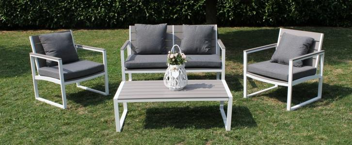Salotto da giardino in polywood SALOTTO SIRIOS in alluminio colore BIANCO