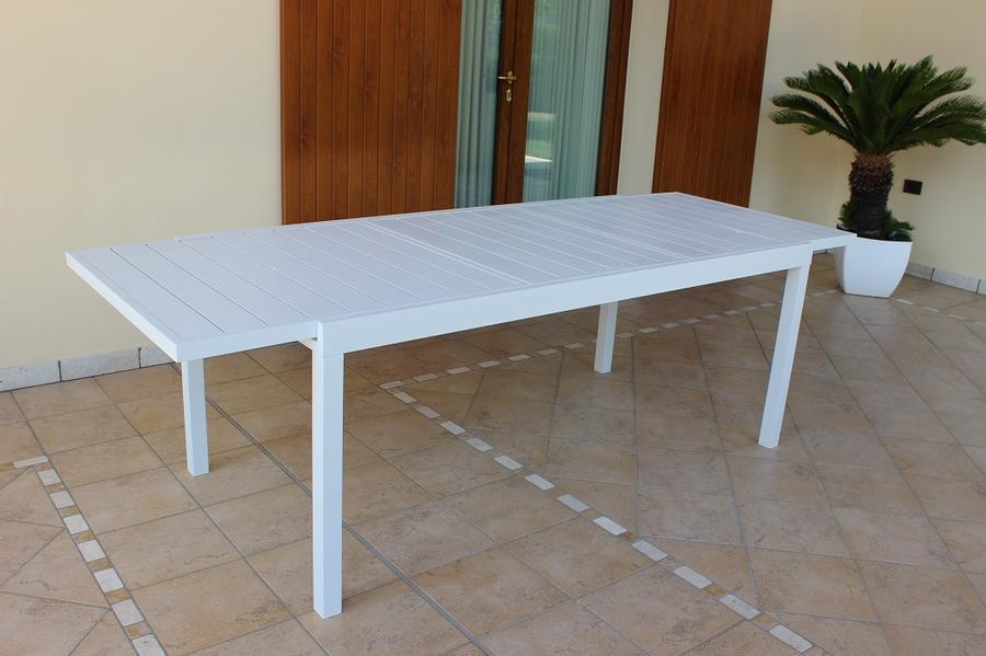 Tavolo da giardino allungabile FORMENTERAS in alluminio bianco cm 200/300 x 100 x 74 h