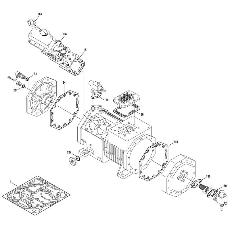 Jeu de joints pour Compresseur à Piston Hermétiques-accessibles Bitzer - 4 Cylindres