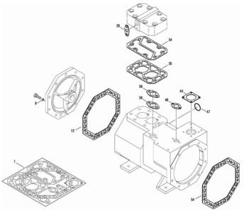 Jeu de joints pour Compresseur à Piston Hermétiques-accessibles Bitzer - 2 Cylindres
