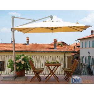Ombrellone da giardino per bar ristoranti pub girevole con palo laterale in alluminio 3x3 Mt contract Professionale ENRICO 5028 ECRU