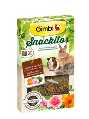 Gimbi Snackitos Legnetti di Nocciolo con fieno, calendula e rosa