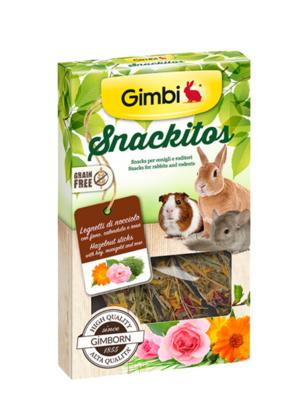 Gimborn Grain Free - Gimbi Snackitos Legnetti di Nocciolo con fieno, calendula e rosa