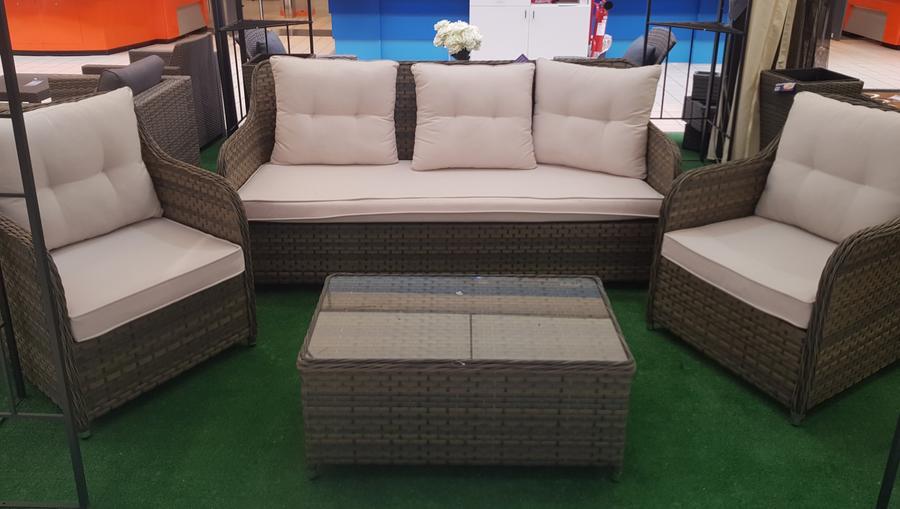 Salotto da giardino in alluminio e rattan marrone MATTEO CORFU divano 3 posti 2 poltrone 1 tavolino