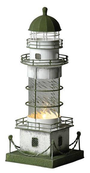 Lampada a Forma di Faro Marino con Supporto in Vetro Trasparente Antichizzato Alto Cm 39 di Artesania Esteban - Offerta di Mondo Nautica 24
