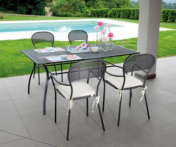 Tavolo per esterno AMENO 160X100 IN FERRO ANTRACITE RTF23 colore grigio antracite disegno a rete