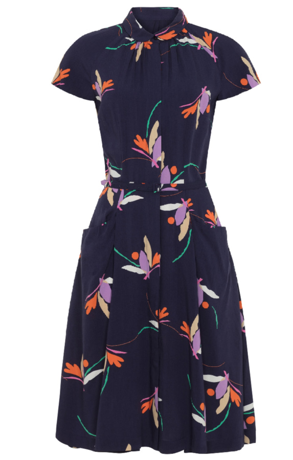POLLY DRESS FLORAL NAVY EMILY AND FIN