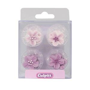 Set 12 pezzi decorazioni in zucchero a forma di fiore viola