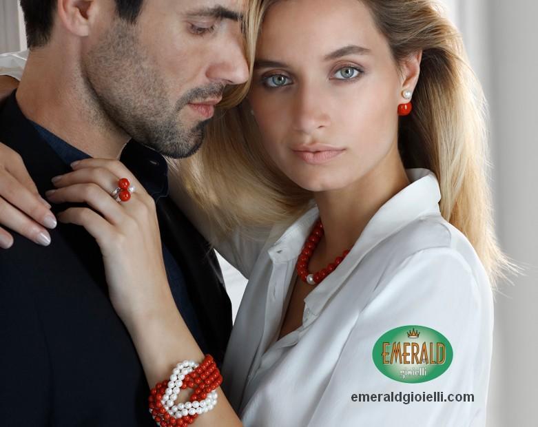 pbr2439 Bracciale con Corallo Rosso e perle Miluna